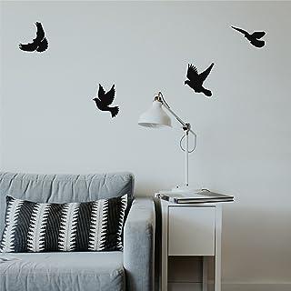 Dekadron Décoration murale en métal Motif oiseaux Art déco Standard noir