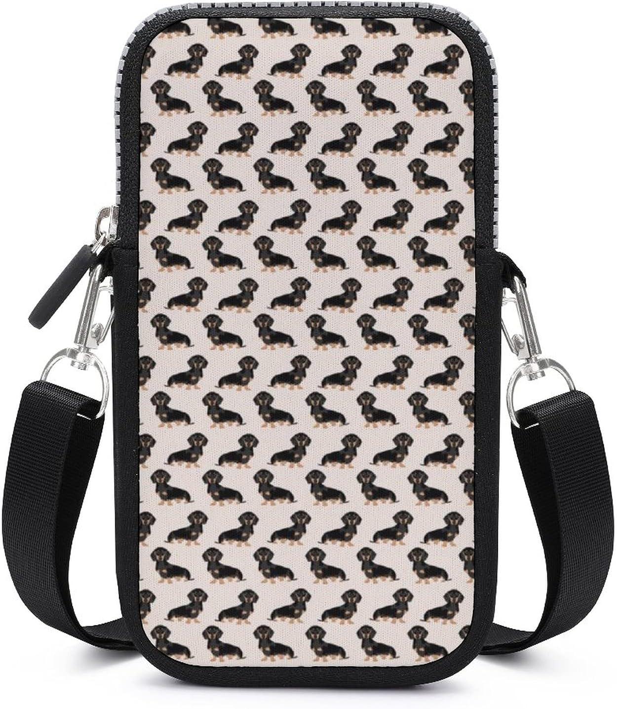 NiYoung Phone Running Multipurpose Shoulder Bag - Passport, Credit Card Adjustable Shoulder Strap, Stash Money Carrier Cute Dachshund Or Doxie Pattern Wristlet Convertible Cross Body Bag