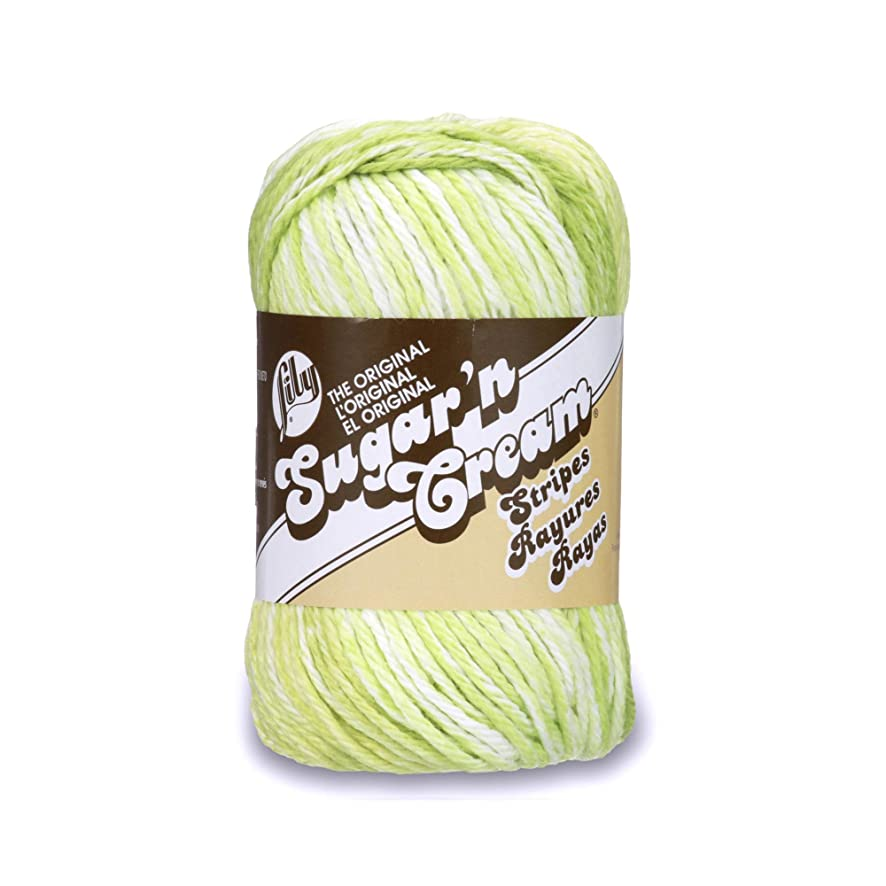 Lily Sugar and Cream Stripes Cotton Yarn, Lime