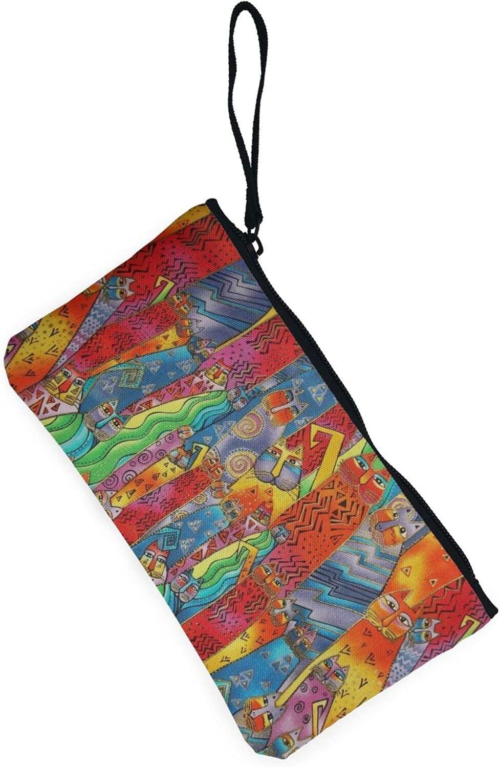 AORRUAM Art cat Canvas Coin Purse,Canvas Zipper Pencil Cases,Canvas Change Purse Pouch Mini Wallet Coin Bag