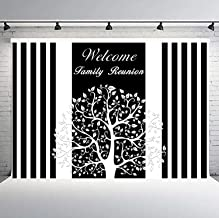 FLASIY 10x7ft Welcome Family Reunion Photo Backdrop Banner Stripe Photography Background Studio Props LHAY800