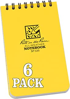 "Rite in the Rain Weatherproof Top Spiral Notebook, 3"" x 5"", Yellow Cover, Universal Pattern, 6 Pack (No. 135L6)"