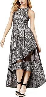 Sachin & Babi Womens Metallic-Print Mesh-Inset Evening Gown