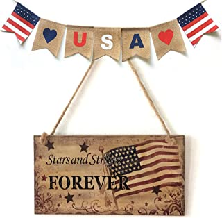 USA Flag Wooden Plaque,American 4th of July Independence Day Wooden Plaque Sign,Wall Art, Decorative Wood Sign Home Holiday Decor for wedding Garage Fence Garden Gate outdoor Sign (F)