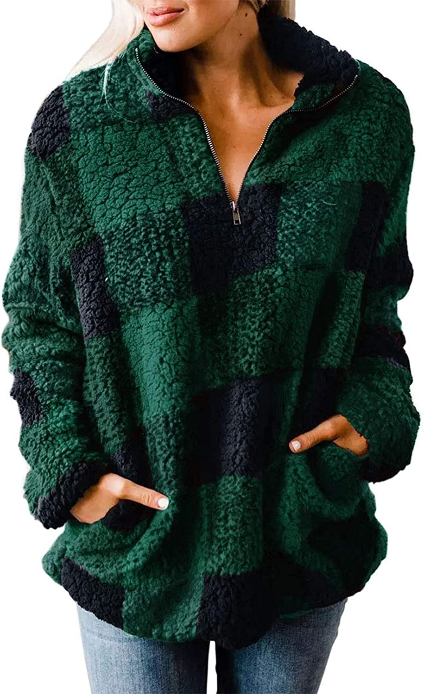 ZESICA Women's Plaid Long Sleeve Zipper Sherpa Fleece Sweatshirt Pullover Jacket Coat with Pockets