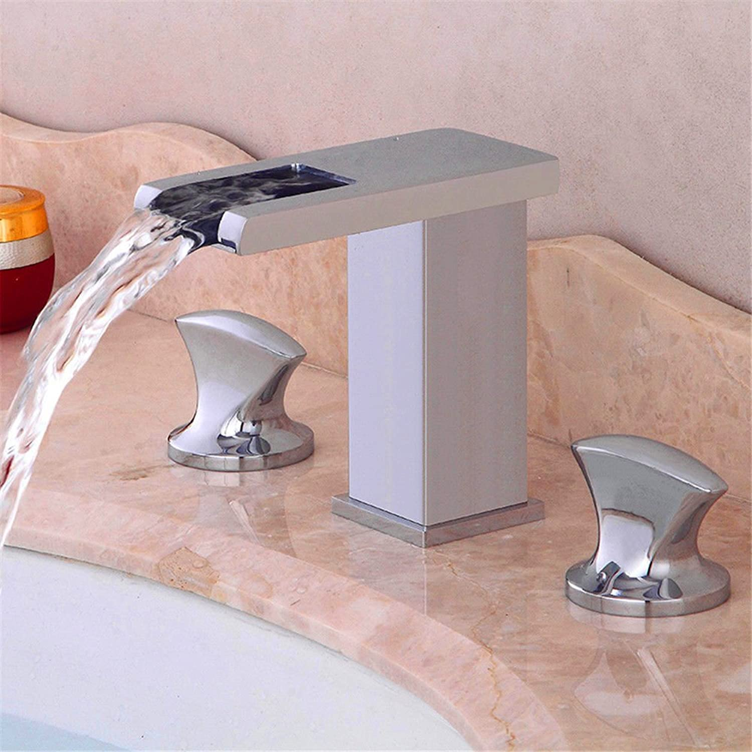 AQMMi Basin Sink Mixer Tap for Lavatory Hot and Cold Water 3-Piece Set Hot and Cold Water Waterfall Wide Mouth Bathroom Vanity Sink Faucet