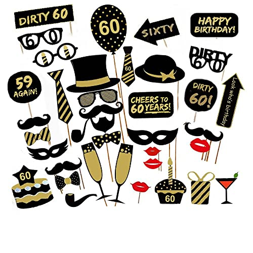 Veewon 60th Birthday Party Photo Booth Props Unisex Funny 36pcs DIY Kit Suitable For His Or