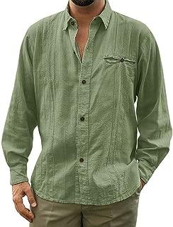 Mens Cuban Camp Guayabera Buttons Down Lace Up Shirts Long Sleeve Solid Shirt