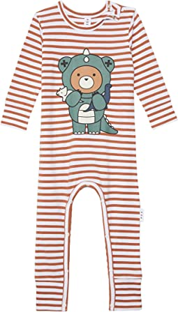 Dino Bear Stripe Romper (Infant)