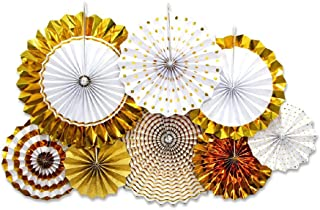 Gold Paper Fans Flower Hanging Banner for Birthday Wedding Engagement Bridal Shower Baby Shower Bachelorette Holiday Celebration Party Decorations 8pcs/Pack