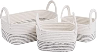Cotton Rope Storage Baskets Storage Bins Organizer Decorative Woven Basket With Handles for Nursery Baby Clothes, Toy, Mak...