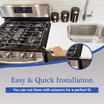 ITEMporia Silicone Stove Gap Cover (2 Pack), Heat Resistant Gap Filler to Seal Between Stovetop, Counter, Oven - Easy...