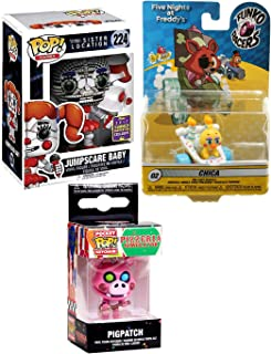 Cake Race Series Five Nights at Freddy's Character Pack Vinyl Pop! Bundled with + Sister Location SDCC Jumpscare Baby Exclusive & Pigpatch Guitar Pop Keychain + Chica Duck Car Collectible 3 Item