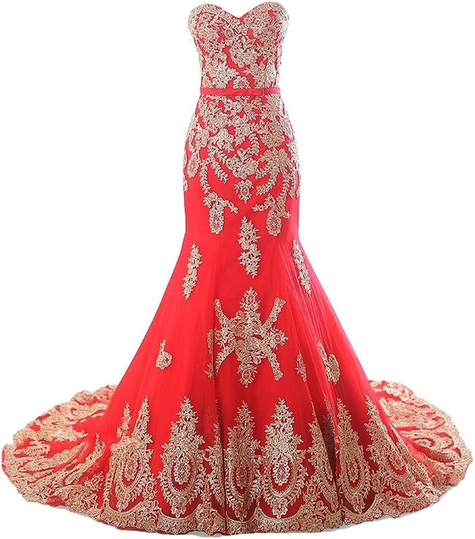Lemai Mermaid Long Tulle gold Lace Corset Sweetheart Wedding Dresses Sash