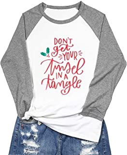 Don't Get Your Tinsel in Tangle Shirts Christmas Shirts for Women Christmas Raglan Baseball Tee Shirt Tops Plus Size