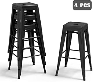 Bonzy Home Metal Bar Stools 30 Inch Counter Height Stackable Barstools Indoor Outdoor Patio Furniture Dining Backless Kitchen Bar Stools Set of 4