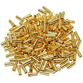 50 Pairs ShareGoo 3.5mm Male Female Gold Banana Plug Bullet Connector Plug for RC Battery ESC Motor with 1 Lipo Battery Strap