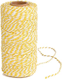Eison Holiday Twine Wedding Twine Cotton Bakery String Yellow and White Twine Rope Cord for Wedding and Holiday Gift Wrapping, Arts Crafts 328 Feet