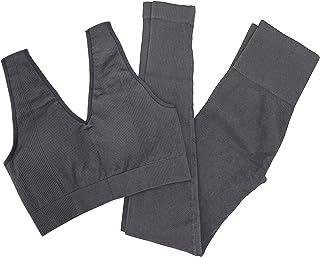 Women 2 PCS Workout Set Seamless Super Soft Material Deep V Neck Bra+Leggings Sports Suit Yoga Outfits
