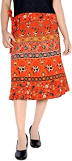 Women's Cotton Printed Knee Length Regular Wrap Around Skirt (W24NT_0003)