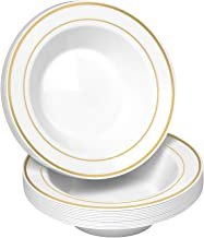 50 Disposable White Gold Trim Plastic Soup Bowls | 14 oz. Premium Heavy Duty Disposable Dinnerware with Real China Design | Safe & Reusable and Great for Parties or Weddings. (50-Pack) Gold