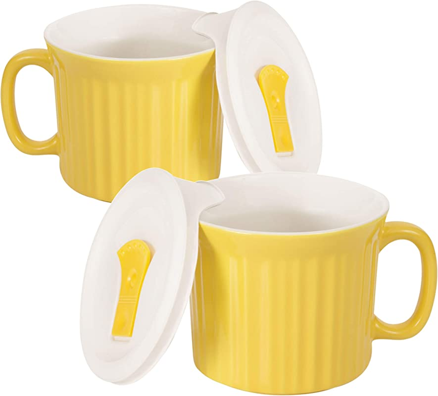 Corningware 20 Ounce Oven Safe Meal Mug With Vented Lid Curry Pack Of 2