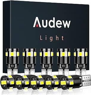 Audew 10 pcs 194 LED Bulb 6000K Super Bright T10 194 168 W5W LED Light Bulb for Dome/Map/Parking/Marker/License Plate Light,Canbus Error Free,White