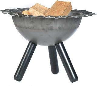 acerto 40532 Massive Feuerschale 40cm  5 STK. Kaminholz  Massiver Stahl  Made in Germany | Feuerschale für draußen | Metall-Feuerstelle für den Garten