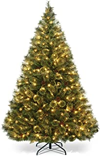 Goplus 6FT Christmas Tree, Pre-lit Flowering Artificial Green Hinged Christmas Tree, PVC Pine Full Tree with Metal Stand, 484 Tips, UL Listed LED Lights