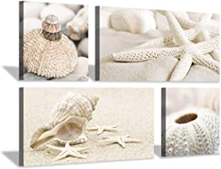 Hardy Gallery Seashells & Starfish Picture Wall Art: Conch Shells on Beach Artwork Painting Print for Bedroom (32'' x 16'' x 2 Panels + 16'' x 16'' x 2 Panels)