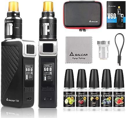 Salcar V60 Mod kit/Cigarrillo Electrónico Starter Set y 5 x 10ml E Liquid    V60 Mod Kit con 2200 mAh batería + 2.0 ml / 0.5ohmTop Refill Vaporizador (Negro)