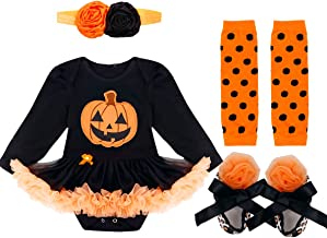 TiaoBug Newborn Baby Girls' 1st Halloween Party Costume Tutu Dress 4 Pieces Outfits with Headband Shoes Leggings Set