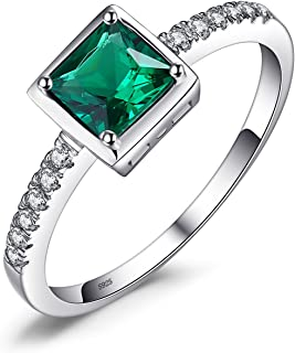 JewelryPalace Created Sapphire Nano Russian Simulated Emerald Ring 925 Sterling Silver