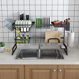 Over Sink Dish Drying Rack, Space Saver Adjustable Drainer Shelf Kitchen Supplies Storage Shelf Countertop Organizer, Black Stainless Steel-2 tier