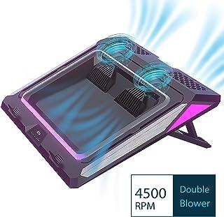 IETS GT300 - Almohadilla de refrigeración para portátil de 14 a 17 pulgadas, con filtro antipolvo, anillo de goma flexible, luces de colores, soporte ajustable y velocidad de tercera marcha