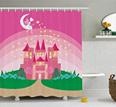 Ambesonne Girly Decor Shower Curtain Set, Magic Fantasy Fairy Tale Princess Castle with Pixie in Sky Fictional Dream Kingd...