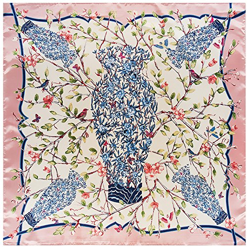 WEJNNI Imitatie zijden sjaal 90cm*90cm groene vaas tak camellia dame bigsjaal