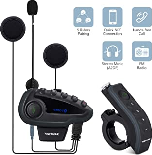 V8 5 Riders Helmet Intercom Systems with Advanced Noise Cancellation and Remote Control Handle,Motorcycle Bluetooth Headset with FM Radio and NFC Call Answer Reject,Range up to1200M