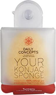 Daily Konjac Sponge, Turmeric - Daily Concepts - The Konjac Sponge Is Highly Absorbent In Both Water And Oils And Is Excellent For a Thorough Cleansing. Break down skins dirt. Balance Ph
