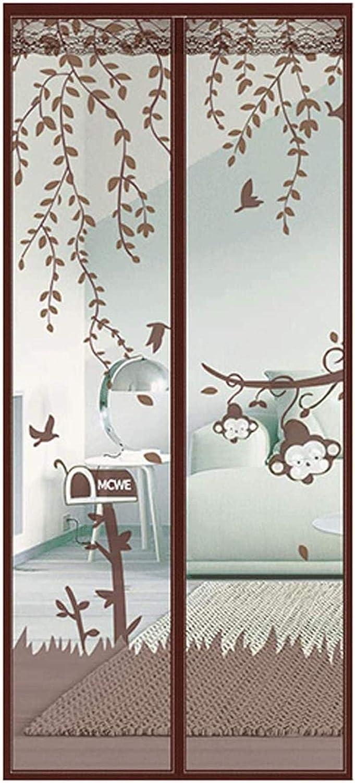 Patrón De Mono Marrón Mosquiteras Magnéticas 140x240cm / 55x94inches Mosquitera Imanes Manténgase alejado de la cortina de mosquitos para puertas corredizas de balcón Sala de estar,Fácil de Montar si