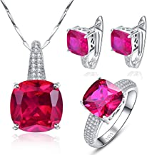 Bonlavie 925 Sterling Silver Cushion Created Red Ruby Stud Earrings Solitaire Ring Pendant Necklace Jewelry Set