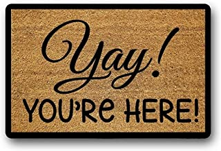 BXBCASEHOMEMAT Personalized Door Mat, Custom Doormat, Welcome Mat, Custom Welcome Mat, Yay You're Here Doormat, Outdoor, F...