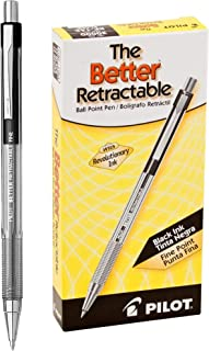 PILOT The Better Ball Point Pen Refillable & Retractable Ballpoint Pens, Fine Point, Black Ink, 12 Count (30000)