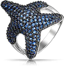 Bling Jewelry Nautical Cubic Zirconia Pave Navy Blue CZ Large Statement Starfish Ring for Women Pave Black Silver Plated Brass