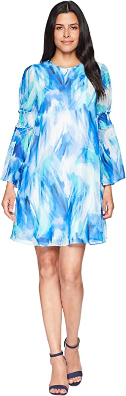 Calvin Klein Brush Stroke Print Long Sleeve Dress with Smocking Detail CD8H26MD