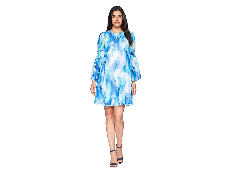 Calvin Klein Brush Stroke Print Long Sleeve Dress with Smocking Detail CD8H26MD (Regatta Multi) Women