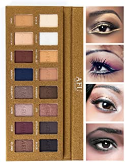 AFU High Pigmented Eyeshadow Palette Matte + Shimmer 16 Colors Makeup Natural Bronze Neutral Smokey Blendable Waterproof Eye Shadows Cosmetic - E-11