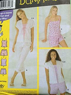 Simplicity Sewing Pattern 5205 Junior Girls Pants Shorts Camiole Top Size 17-24