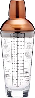 BarCraft BCLLBOSTON700 Recipe Cocktail Shaker with Measurements, Glass / Stainless Steel, Copper Finish, 650 ml