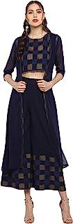 Janasya Women's Navy Blue Crepe Top With Palazzo And Jacket